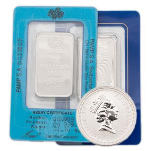 Palladium / Palladiummünzen / Palladiumbarren