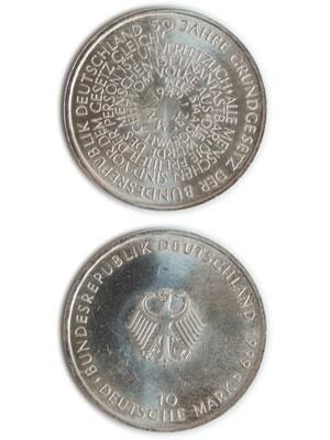 10 Mark, 50 Jahre Grundgesetz der Bundesrepublik Deutschland