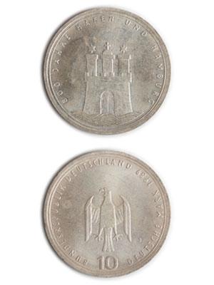 10 Mark, 800 Jahre Hafen und Hamburg