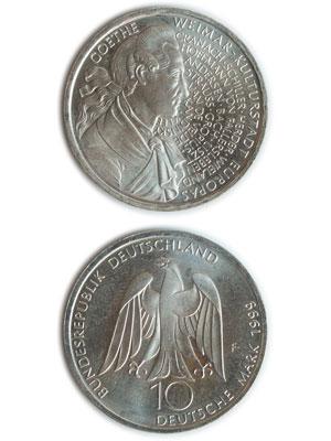 10 Mark, Weimar Kulturhauptstadt, Goethe - 250. Geburtstag